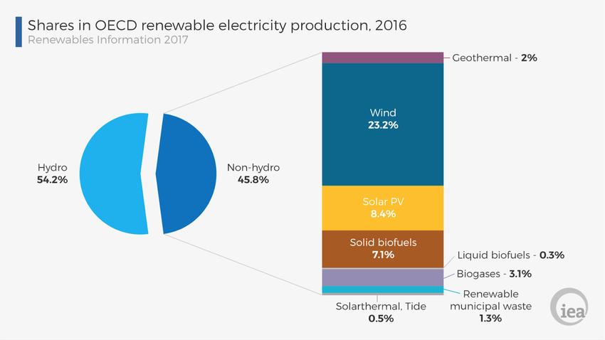 Структура відновлювальної енергетики, ОЕСР